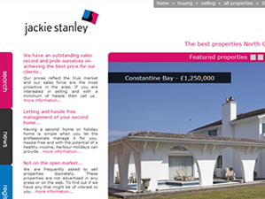 Jackie Stanley Estate Agents with branches in Rock and Padstow, website designed by The Drawing Board.
